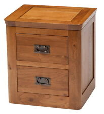 London Oak Bedside Table Cabinet  | Oak 2 Drawers Storage Lamp Stand Unit
