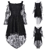 Vintage Style Gothic Victorian High-Low Lace Swing Party Evening Prom Gown Dress