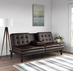 Convertible Futon Sleeper Sofa Couch Mattress Tufted Leather Memory Foam Brown