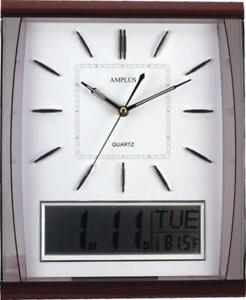AMPLUS Silent Sweep Wall Clock With Large Digital Month/Date/Day Calendar White
