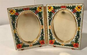 Vintage Italian Micro Mosaic Stand Up Double Picture Frame