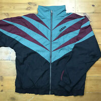 Retro Adidas Shellsuit Shell Jacket Green Black  Purple Trefoil Vintage Size XL