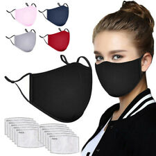 5X Men Women Cotton Cloth Muffle Face Cover Reusable Washable with 12pcs Filters