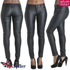 Womens Ladies Wet Look PU Trousers Leather High Waist Leggings Stretch PVC  Pant