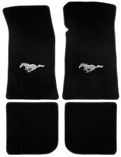 NEW! 1964-1973 Ford Mustang Black Floor mats Coupe, FB Set 4 Carpet Horse Logo