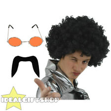 70'S MAN SET BLACK AFRO WIG MOUSTACHE ORANGE GLASSES DISCO FANCY DRESS 1970'S