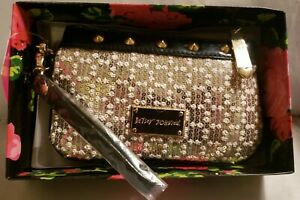 BETSEY JOHNSON White Gold Black Sequin Stud Zip Clutch Wristlet Hardware NWT