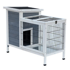 36in Rabbit Bunny Hutch House Cage Elevated Habitat Indoor Outdoor Shelter Wood