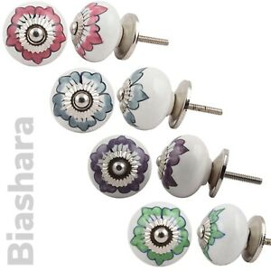 FLORAL CERAMIC DOOR KNOBS Cupboard Handles Drawer Pulls Shabby Chic Quality