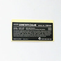 NEW Nintendo Game Boy Color GBC Replacement Sticker Label USA!