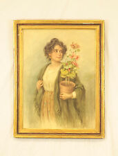 Girl with Earrings Holding Potted Plant by Vittorio Tessari- Italian - b. 1860