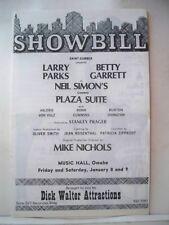 PLAZA SUITE Playbill NEIL SIMON / BETTY GARRETT / LARRY PARKS Tour OMAHA 1971