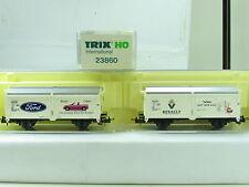"Trix Int. H0 23860 Hubschiebedachwagen 2er Set ""Ford + Renault"" DB OVP (D4195)"