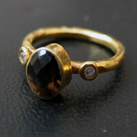 Ancient Design Handmade Hammered Smoky Quartz Ring With Topaz 22K Gold over 925 Sterling Silver