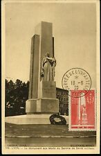 FRANCE CARTE MAXIMUM MAXI CARD N°395 MONUMENT MORTS GLOIRE DU SERVICE SANTE 1939