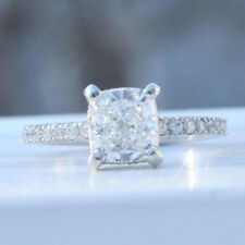 2 ct  I SI1 cushion diamond engagement micro pave antiqe style ring 18k gold