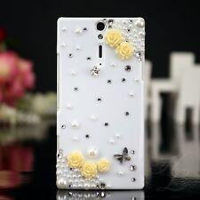 Sony Ericsson LT26i Xperia S Handy Case Schutz Hülle Etui Steine Weiß Gelb 3D