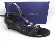 Stuart Weitzman Lowlight Women Low Heel Wedge Sandals BLK LEA SZ 9.5 WIDE, 12076