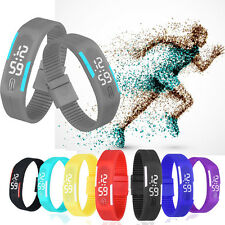 Fashion Womens Mens Waterproof Digital LED Sports Silicone Bracelet Wrist Watch