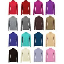 New Ladies Women's Ribbed Polo Neck Long Sleeve Slim Fitted T Shirt Top UK 8-14