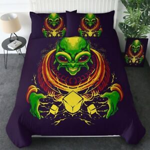 Cartoon Green Alien Angry Space King Queen Twin Quilt Duvet Pillow Cover Bed Set