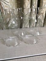 """4 Vintage Clear Glass Ruffled 1-5/8"""" Fitter Oil Lamp Shade Chimney Hurricane"""