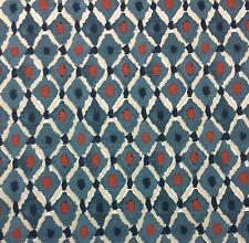 """Ballard Designs Lydia Indigo Blue Red Lattice Multiuse Fabric by The Yard 54"""" W"""