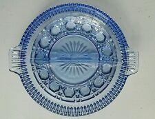 Vintage Amethyst Purple Sapphire  Blue Depression Glass 2 Section Relish Dish