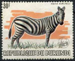 Burundi 1983 SG#1404 30f Common Zebra Animal Optd WWF Emblem Used Cat £70#E16699