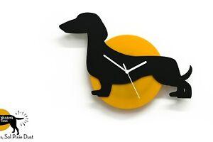 Wagging Tail Dachshund Dog - Black & Yellow Silhouette - Wall Clock