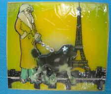 Poodle in Paris Puppy Dog Brooch Pin Handmade 3D Jewelry Yellow