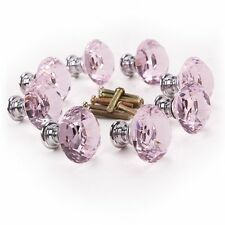 8 x Pink diamond bling decoration door furniture drawer handle knob 30x27mm HY