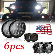 "Black 7'' LED Headlights Signal Turn Light 4"" Fog Lamp Kit for Jeep Wrangler JK"