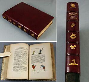 1845 Sports and Pastimes England hand-coloured version Zaehnsdorf binding
