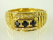 Herren Original Blauer Saphir + Weiß Zirkonia Ring Gold über 925 Sterlingsilber