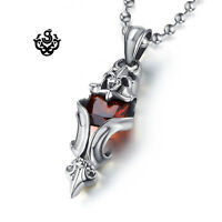 Silver pendant vintage style stainless steel red cz Fleur-De-Lis chain necklace