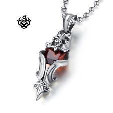 red cz Fleur-De-Lis chain necklace Silver pendant vintage style stainless steel