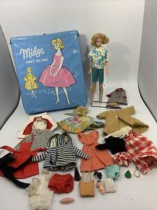 Vintage 1962 Midge Doll, Clothes, Accessories, and 1963 Blue Case ~ LOT