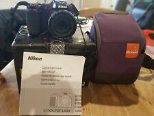 NIKON Coolpix L820 Purple Camera in Box with 16GB memory card, manual & case