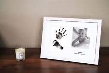 Personalized Hand Print Footprint Kit Baby Shower Fathers Day Gift White Frame