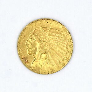 1912 $5 INDIAN HEAD HALF EAGLE GOLD PIECE VF-XF US COLLECTIBLE COIN 90% GOLD