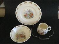 Vintage Bunnykins By Royal Doulton Cereal Bowl Mug Plate 4 Piece Set With Box