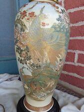 ANTIQUE JAPANESE SATSUMA POTTERY PEACOCK BIRD LAMP FLORAL MUMS OLD ESTATE