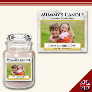 Personalised Photo Candle Label Medium Custom Sticker Marble Gift Present Friend