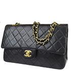 CHANEL CC Matelasse Double Flap Chain Shoulder Bag Leather BK Vintage 801LB482