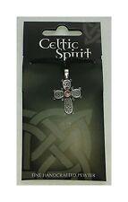Cruz Céltico Peltre Colgante con Cordón Negro - Rosa Drogado Nudos Celtas Diseño
