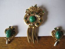 Rare/Vintage malachite green Florenza brooch/matching clip on earrings
