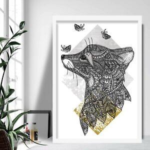 Geometric FOX Butterfly Art Print Yellow Grey Gallery Wall Poster Aztec Decor