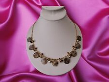 "Cookie Lee Genuine Shell Necklace With Crystals and Pearls Gold Tone 15"" NWT"