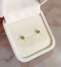 SALE! Rare natural diamond-lustre Yellow Sphene 3mm surgical steel earrings ✨
